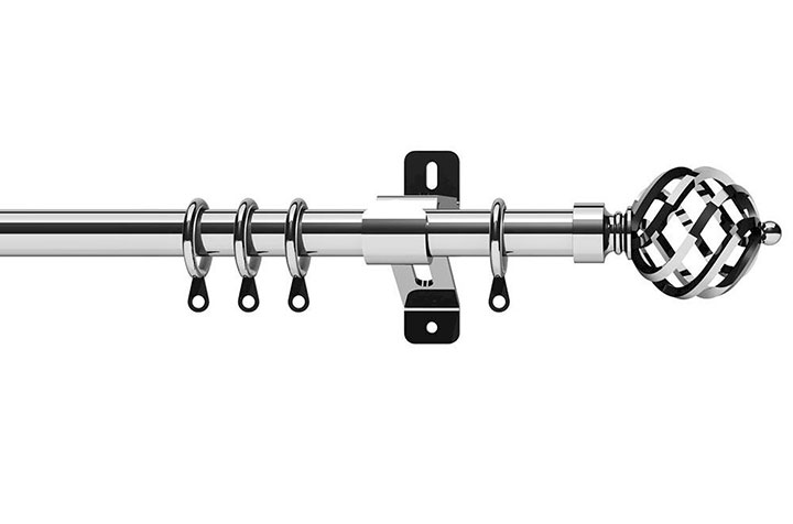 Swish 28mm Elements Titan Chrome Metal Curtain Pole