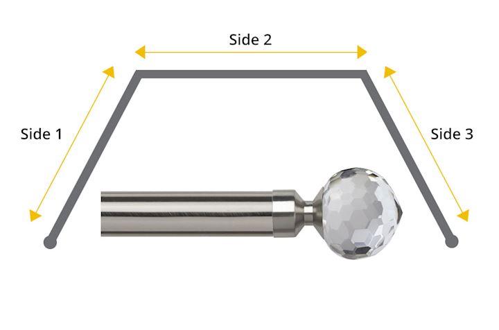 Speedy 28mm Bella 3 Sided Bay Window Curtain Pole Satin Silver