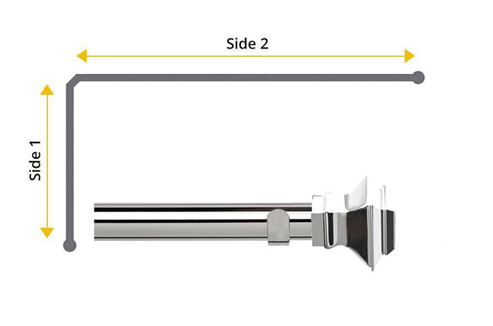 Speedy 35mm Aztec 2 Sided Bay Window Curtain Pole Chrome