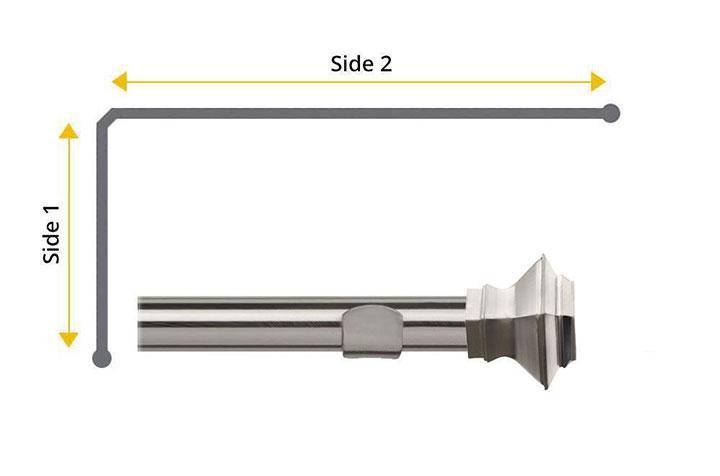 Speedy 35mm Aztec 2 Sided Bay Window Curtain Pole Satin Silver