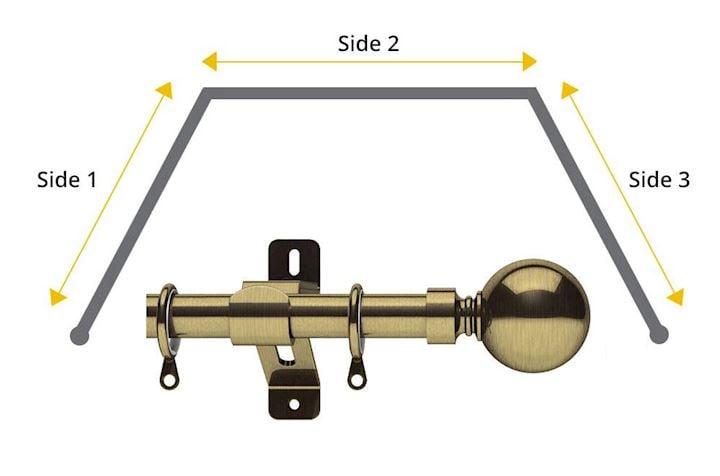 Swish 28mm Belgravia 3 Sided Bay Window Pole Antique Brass
