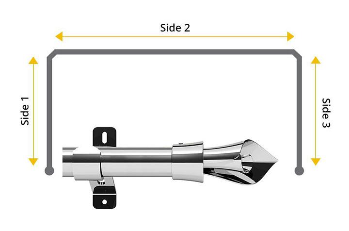 Swish 35mm Blossomtime Chrome 3 Sided Bay Window Pole