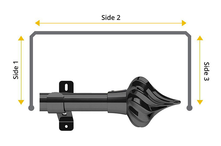 Swish 28mm Kremlin Graphite 3 Sided Bay Window Pole