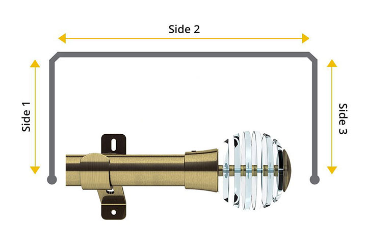 Swish 35mm Rondelle Antique Brass 3 Sided Bay Window Pole