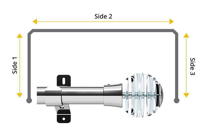 Swish 35mm Rondelle Chrome 3 Sided Bay Window Pole