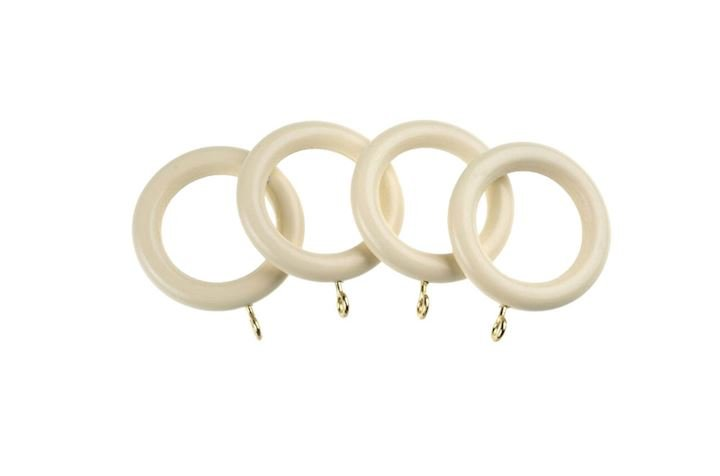 Universal 28mm Cream Wooden Curtain Pole Rings