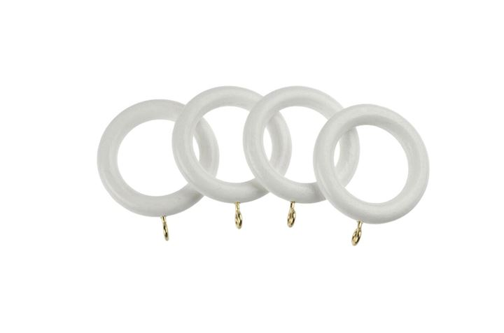 Universal 28mm White Wooden Curtain Pole Rings