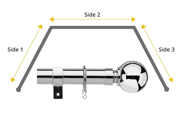 Universal 28mm Ball 3 Sided Bay Window Curtain Pole Chrome