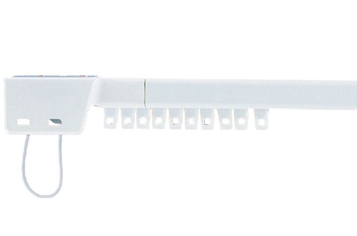 Universal Metal Corded Extendable Curtain Track White
