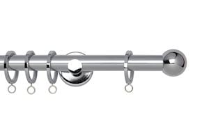Rolls 19mm Neo Ball Metal Curtain Pole Chrome