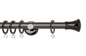 Rolls 19mm Neo Trumpet Metal Curtain Pole Black Nickel
