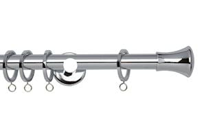 Rolls 19mm Neo Trumpet Metal Curtain Pole Chrome - Thumbnail 1