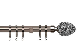 Speedy Alexia Silver Mirror 28mm Polished Graphite Metal Curtain Pole
