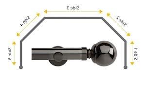 Rolls 28mm Neo Ball 5 Sided Bay Window Curtain Pole Black Nickel - Thumbnail 1
