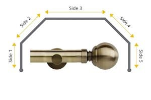 Rolls 28mm Neo Ball 5 Sided Bay Window Curtain Pole Spun Brass