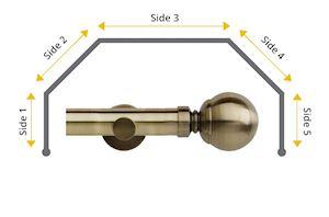 Rolls 28mm Neo Ball 5 Sided Bay Window Curtain Pole Spun Brass - Thumbnail 1