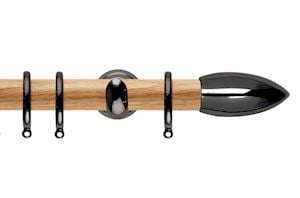 Rolls 28mm Neo Oak Bullet Black Nickel Wooden Curtain Pole