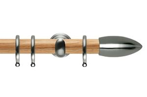 Rolls 28mm Neo Oak Bullet Stainless Steel Wooden Curtain Pole
