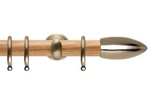 Rolls 28mm Neo Oak Bullet Spun Brass Wooden Curtain Pole