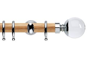 Rolls 28mm Neo Oak Clear Ball Chrome Nickel Wooden Curtain Pole