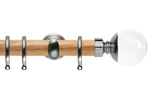 Rolls 28mm Neo Oak Clear Ball Stainless Steel Nickel Wooden Curtain Pole