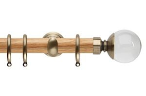 Rolls 28mm Neo Oak Clear Ball Spun Brass Nickel Wooden Curtain Pole