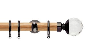 Rolls 28mm Neo Oak Clear Faceted Ball Black Nickel Wooden Curtain Pole