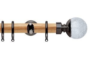 Rolls 28mm Neo Oak Crackled Glass Black Nickel Wooden Curtain Pole