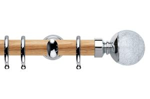 Rolls 28mm Neo Oak Crackled Glass Chrome Wooden Curtain Pole