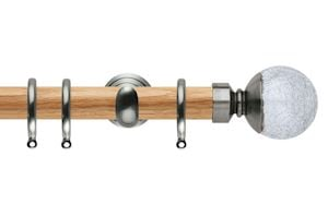 Rolls 28mm Neo Oak Crackled Glass Stainless Steel Wooden Curtain Pole