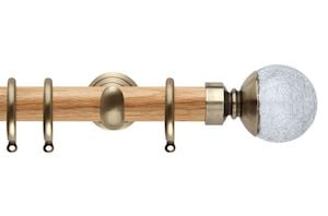 Rolls 28mm Neo Oak Crackled Glass Spun Brass Wooden Curtain Pole
