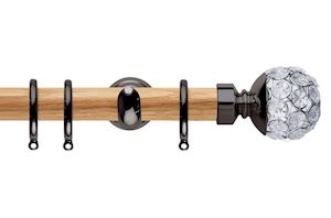 Rolls 28mm Neo Oak Jewelled Ball Black Nickel Wooden Curtain Pole