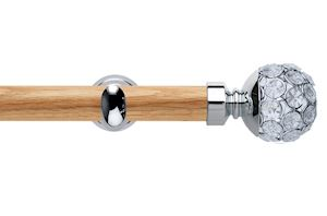 Rolls 28mm Neo Oak Jewelled Chrome Wooden Eyelet Pole
