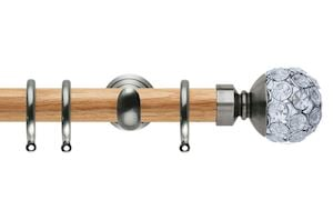 Rolls 28mm Neo Oak Jewelled Stainless Steel Nickel Wooden Curtain Pole