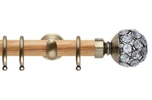 Rolls 28mm Neo Oak Jewelled Spun Brass Nickel Wooden Curtain Pole