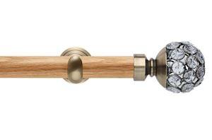 Rolls 28mm Neo Oak Jewelled Spun Brass Nickel Wooden Eyelet Pole - Thumbnail 1