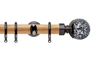 Rolls 28mm Neo Oak Mosaic Ball Black Nickel Wooden Curtain Pole