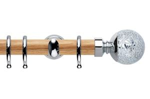 Rolls 28mm Neo Oak Mosaic Ball Chrome Wooden Curtain Pole