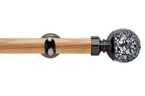 Rolls 28mm Neo Oak Mosaic Ball Black Nickel Wooden Eyelet Pole - Thumbnail 1