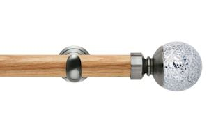 Rolls 28mm Neo Oak Mosaic Ball Stainless Steel Wooden Eyelet Pole - Thumbnail 1