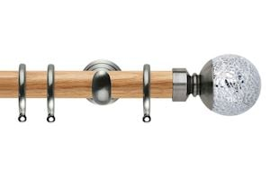 Rolls 28mm Neo Oak Mosaic Ball Stainless Steel Wooden Curtain Pole