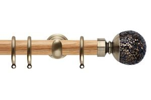 Rolls 28mm Neo Oak Mosaic Ball Spun Brass Wooden Curtain Pole