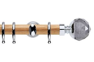Rolls 28mm Neo Oak Smoke Grey Faceted Ball Chrome Wooden Curtain Pole