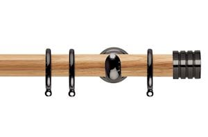 Rolls 28mm Neo Oak Stud Black Nickel Wooden Curtain Pole