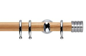 Rolls 28mm Neo Oak Stud Chrome Wooden Curtain Pole
