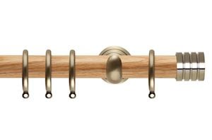 Rolls 28mm Neo Oak Stud Spun Brass Wooden Curtain Pole