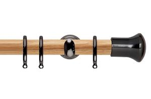 Rolls 28mm Neo Oak Trumpet Black Nickel Wooden Curtain Pole