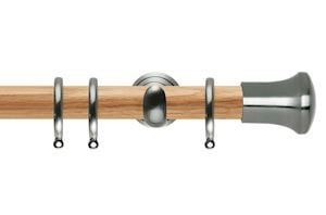 Rolls 28mm Neo Oak Trumpet Stainless Steel Wooden Curtain Pole