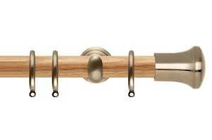 Rolls 28mm Neo Oak Trumpet Spun Brass Wooden Curtain Pole