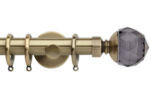 Rolls 28mm Neo Smoke Grey Faceted Metal Curtain Pole Spun Brass